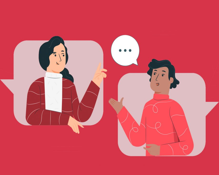 two people talking red background